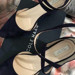 Cole Haan blue suede heels